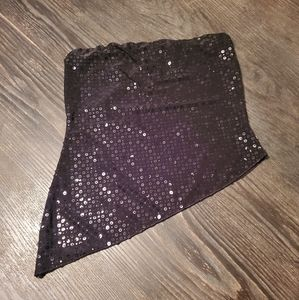 Sequin tube top asymmetrical hem size large